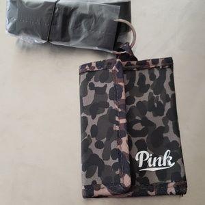 💗NIP-VS Pink lanyard with card/money wallet